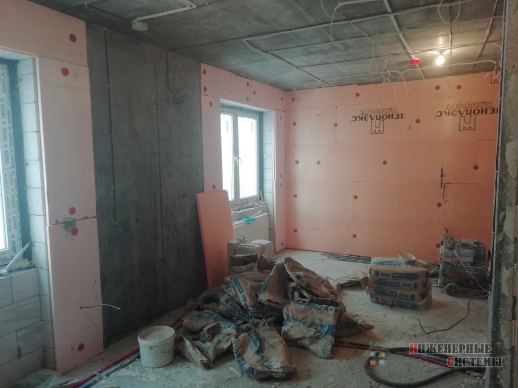 Смонтировали теплоизоляцию на стенах